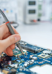 Electronics repair service, text space