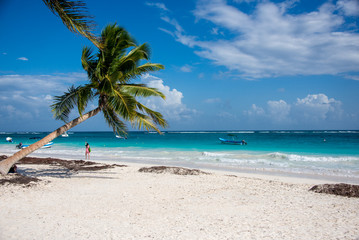 Paradise beach view Tulum, caribbean  at Quintana Roo, Mexico.