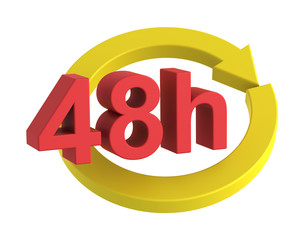 48 hours delivery sign. Computer generated 3D photo rendering.
