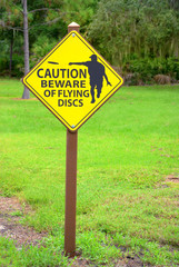 Disc Golf Flying Discs caution sign