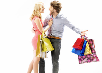 Laughing couple enjoying the shopping