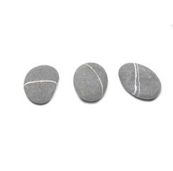 three striped stones