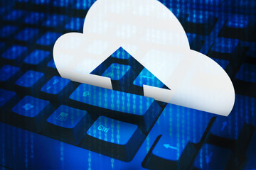 Digital image of cloud icon with arrow on blue keyboard