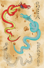 Set with sea dragons on paper background