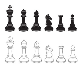 Set of Chess Icons in Black and White