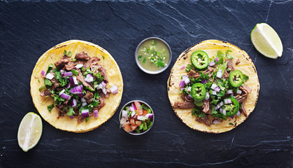 Wall Mural - top down photo of two authentic mexican tacos
