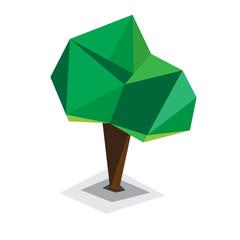 polygonal tree. Abstract vector Illustration,