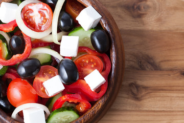 Traditional greek salad with olives, tomato, cucumber and feta