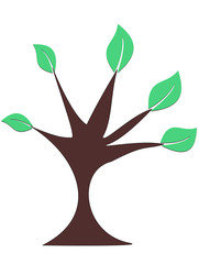 Green Tree on white background vector illustration