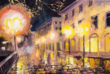 night in paris, street lamp, colorful oil painting Fotomurales
