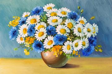 Obraz bouquet of spring flowers, still life oil painting - fototapety do salonu