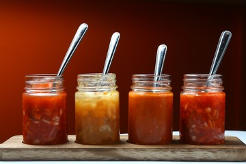 Mexican food dips and sauces in bottles