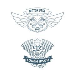 Set of biker vector badges