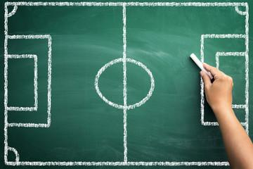 soccer terrain on chalkboard