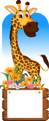 Cute giraffe cartoon with blank board