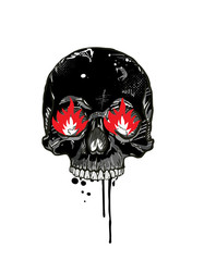 Skull with burning eyes