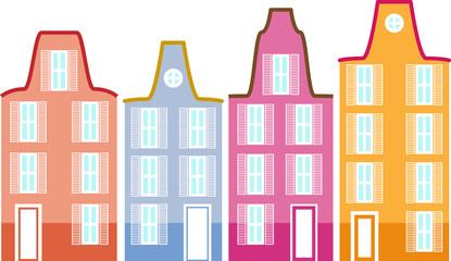 European town buildings set