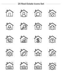 Line icon - Real Estate & House, Bold