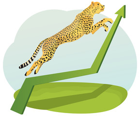 Cheetah jumping on the increasing green arrow on the chart