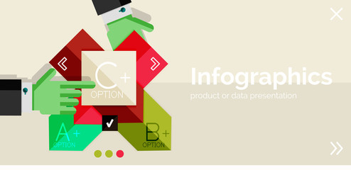 Infographic flat design banner with hands