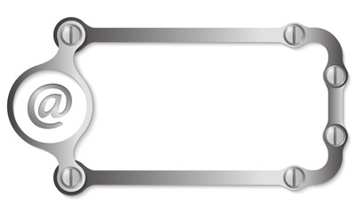 vector metal frame with screws and email icon