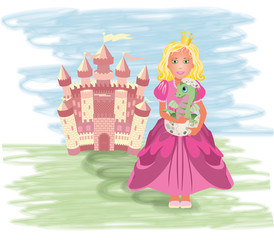 Cute princess with little dragon, vector illustration