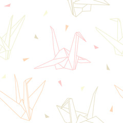 Vector origami paper cranes seamless pattern