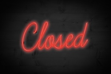 Composite image of closed sign