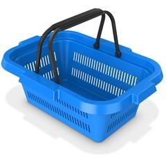 3d blue empty shopping basket