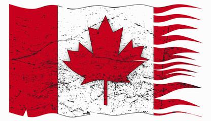 Wavy Canadian Flag Grunged