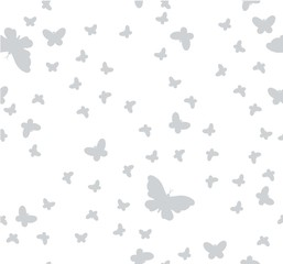 seamless pattern of butterflies on a white background
