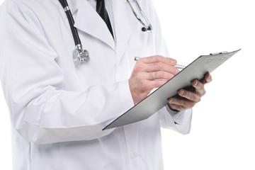 Medical doctor writing notes on the clipboard. Isolated on white