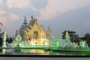 White temple is unique beautiful Thai art in Chiangrai
