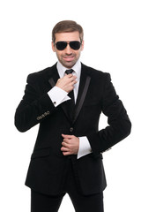Stylish bodyguard with sunglasses. Isolated over white backgroun