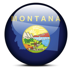 Map on flag button of USA Montana State