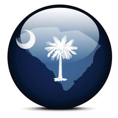 Map on flag button of USA South Carolina State