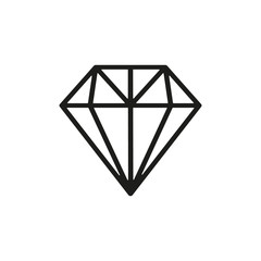 The diamond icon. Jewel symbol. Flat