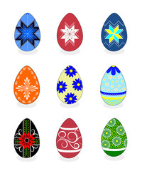 Set of isolated colorful painted Easter eggs on white background
