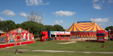 A nice red and yelow circus tent