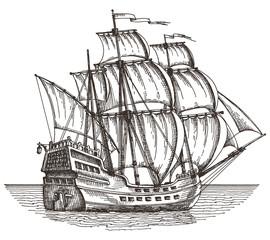 ship vector logo design template. sailboat or frigate icon.