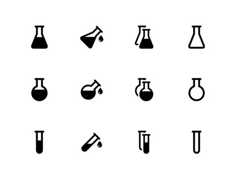 Lab flask icons on white background.