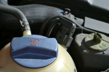 Detail of diesel engine cooler of modern car