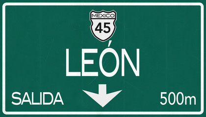 Leon Mexico Highway Road Sign