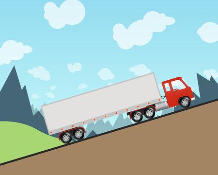 Semi Truck Driving Up A Steep Hill