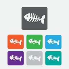 fish bone, fish skeleton. Round squares buttons