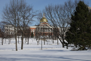 Boston im Winter Massachusetts State House im Hintergrund