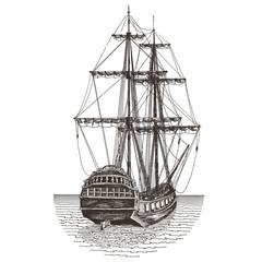 ship vector logo design template. frigate or journey icon.