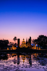 Sukhothai historical park in the sunset; Old town of Thailand