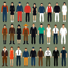 vector cartoon people, man, woman flat characters