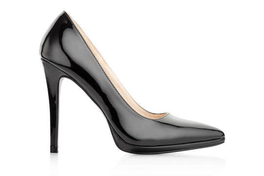 Black elegant shoe for woman on white, clipping path